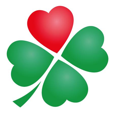 Vier klavertje met een rood hart. Afbeelding op een witte achtergrond.