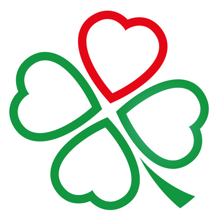 fourleaved: Cloverleaf made of one red heart and three green hearts. Illustration over white background. Illustration