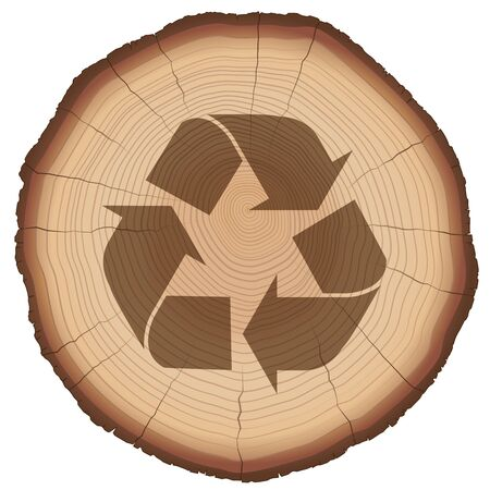 tree cross section: Recycling symbol on a wood slice Illustration
