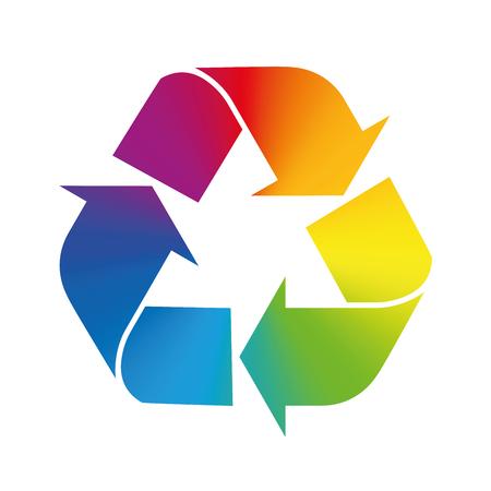 reciclar: Símbolo de reciclaje, gradiente de colores del arco iris. Ilustración sobre fondo blanco.