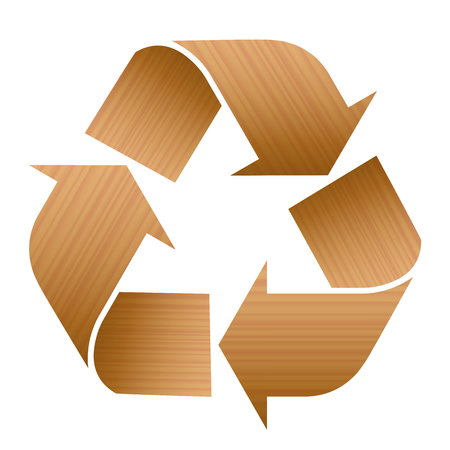 Recycling symbol with wood texture. Illustration over white background.