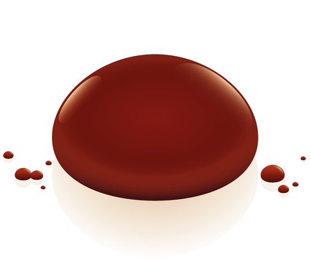 drop of blood: Blood drop. Isolated illustration over white background.
