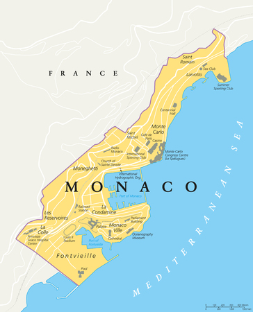 french riviera: Monaco political map. City state in on the French Riviera, France, with national borders, important buildings and sights. English labeling and scaling. Illustration.