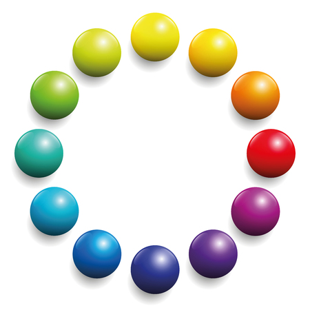 background orange: Color spectrum formed by twelve balls. Illustration over white background.