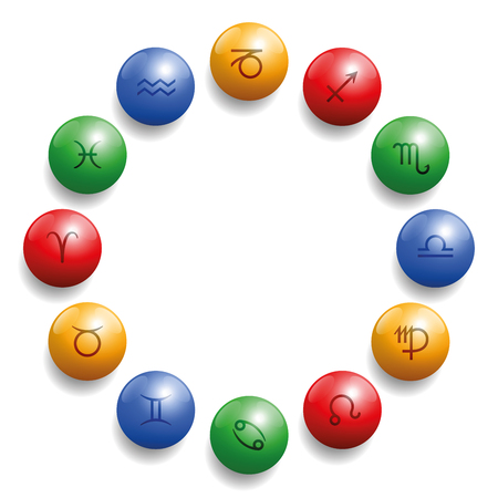 Astrology radix with twelve symbols on colored glossy balls in their appropriate element color: red fire, ocher earth, blue air, green water. Illustration on white background.