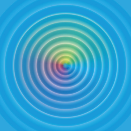 gently blue: Circular waves on water surface - with mystical rainbow colored aura. Vector illustration.