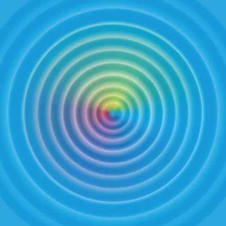 cicla: ondas circulares en la superficie del agua - con aura mística arco iris de colores. Ilustración del vector. Vectores
