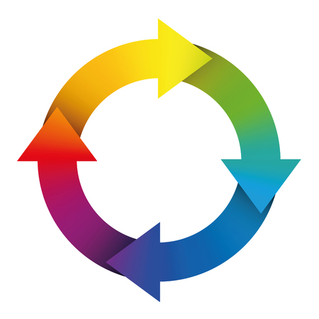 recycle symbol vector: Circuit symbol with rainbow colored arrows. Illustration over white background.