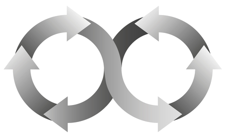 arrows circle: Infinity symbol with gray arrows. Illustration over white background.