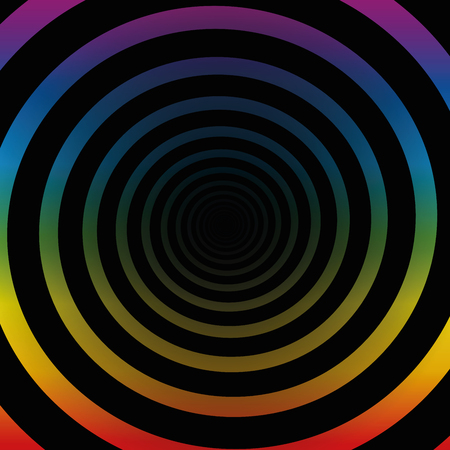 hypnotizing: Spiral tunnel, rainbow colors, black gradient center, three-dimensional. Illustration