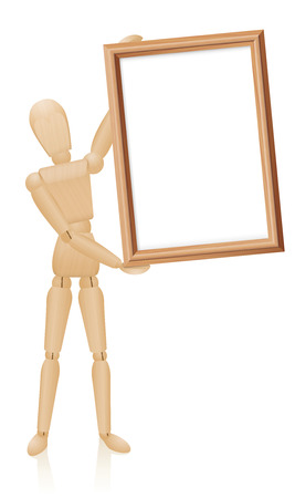 artists dummy: Artist mannequin with blank wooden picture frame. Isolated vector illustration on white background.