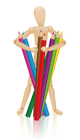 pencil: Artist figure holding a bunch of colored pencils. Illustration on white background.