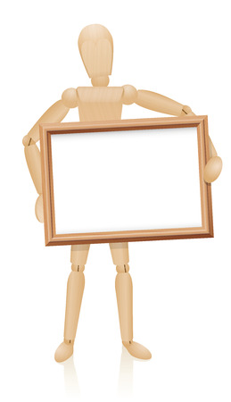 artists dummy: Figure holding frame in front of his wooden mannequin body. Illustration on white background.