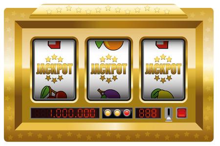 Jackpot symbolen gokautomaat. Illustratie op witte achtergrond.