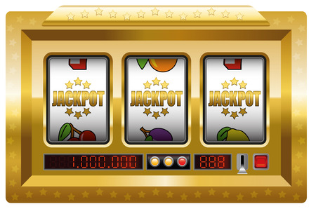Jackpot symbols slot machine. Illustration over white background. Ilustração