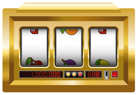 slot in: Golden slot machine with three blank reels to insert your any text or picture in. Illustration over white background.