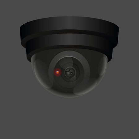 Observing ceiling camera - isolated vector illustration on dark gray background. 矢量图像