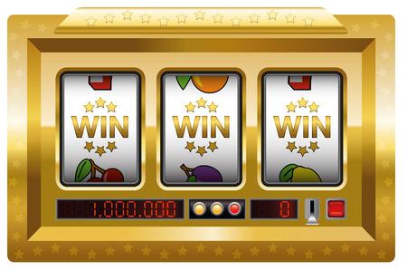 máquina tragaperras - ganar-ganar-ganar el juego. Ilustración sobre fondo blanco.