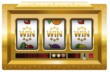 win money: Slot machine - win-win-win-game. Illustration over white background.