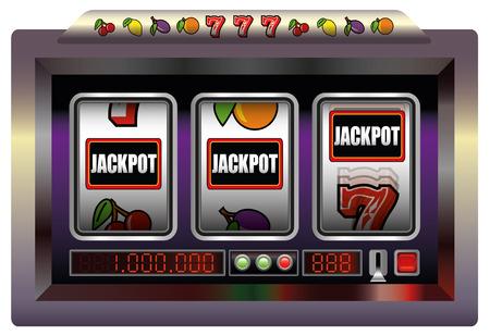 tragamonedas: Gaming jackpot máquina. Ilustración sobre fondo blanco.