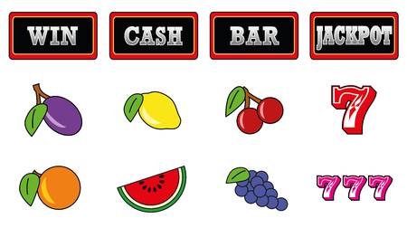 various: Gaming machine symbols. Isolated vector illustration on white background.