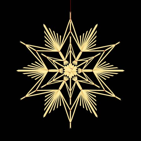 tinkered: Straw star - old fashioned homemade xmas ornament hanging on a red thread. Isolated vector illustration on black background. Illustration