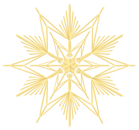 christmas star background: Straw star - vintage handicraft christmas decoration. Isolated vector illustration over white background. Illustration