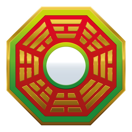 mojo: Bagua Mirror Feng Shui - powerful cure to protect against negative energy and create good fortune and harmony. Isolated vector illustration on white background. Illustration