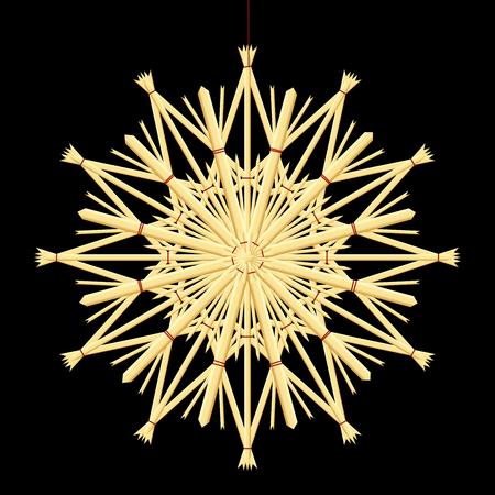 rekodzielo: Straw star - rustic christmas tree handicraft. Isolated vector illustration over black background.