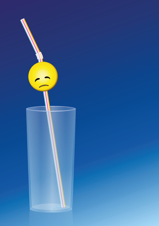 emptied: Empty glass with a weary straw in it. Illustration on blue gradient background.