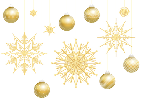 gold christmas background: Christmas balls and straw stars, golden decoration. Isolated vector illustration over white background.