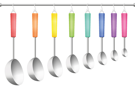 bar tool set: Ladle rack, eight different sizes and colors. Vector illustration on white background. Illustration