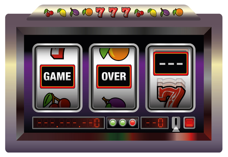 plight: Gaming machine lettering GAME OVER. Isolated vector illustration over white background.