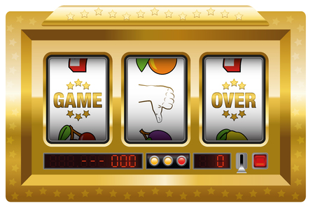 plight: Game over - golden slot machine with three reels lettering GAME OVER and a thumb down symbol. Isolated vector illustration on white background. Illustration