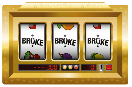 plight: Broke - slot machine with three reels lettering BROKE. Isolated vector illustration on white background.