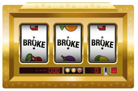 slot machines: Se rompió - máquina tragaperras con tres carretes letras se rompió. ilustración vectorial aislados en fondo blanco. Vectores