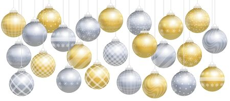 assortment: Christmas balls - gold and silver assortment. Isolated vector illustration over white background. Illustration