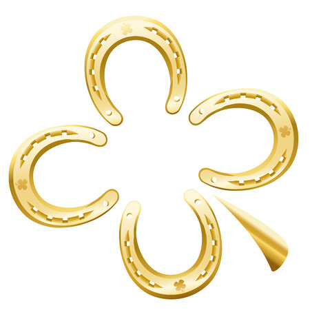 farriery: Clover leaf made of four golden horseshoes as a symbol for good luck. Isolated vector illustration on white background.