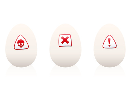 dioxin: Eggs with danger symbols on it - warning against unhealthy food or nutrition. Isolated vector illustration on white background.