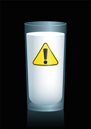 food poison: Milk in a glass with a hazard sign on it, as a symbol for unhealthy drink, food or nutrition. Illustration on black background.