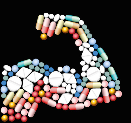 Anabolic drugs, pills and capsules, that shape the biceps of a muscular man. Illustration over black background.
