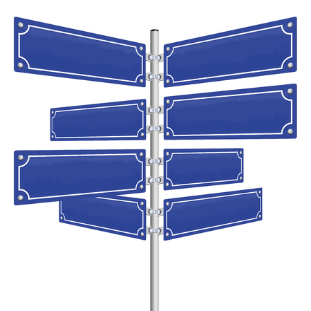 disorientation: Blank street signs - eight blue, vintage style panels fixed on a pole. Isolated vector illustration over white background. Illustration