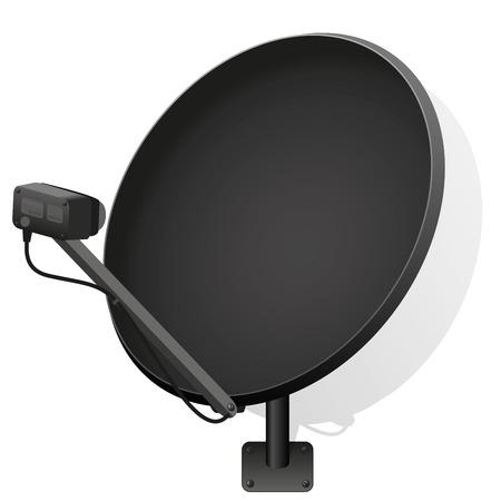 piatto: Riflettore parabolico nero per ricevere i segnali per la televisione, radio, internet. illustrazione vettoriale isolato su sfondo bianco.