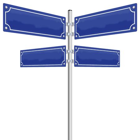 Straatnaamborden - vier lege, glanzende blauwe metalen panelen tonen in vier verschillende richtingen. Illustratie op witte achtergrond. Stock Illustratie