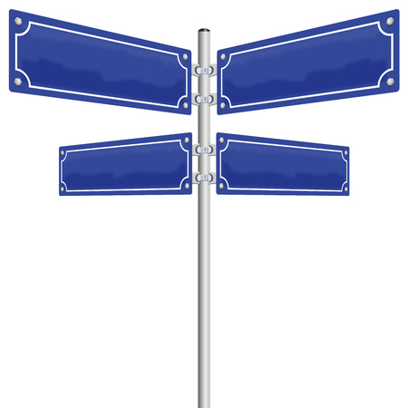 Street signs - four blank, glossy blue metal panels showing in four different directions. Illustration on white background.