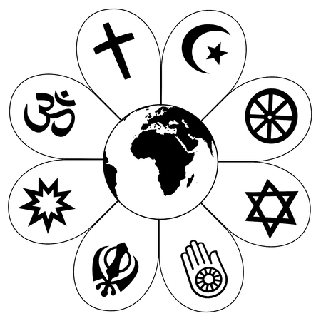 religion: World religions - flower icon made of religious symbols and planet earth in center. Isolated vector illustration on white background.