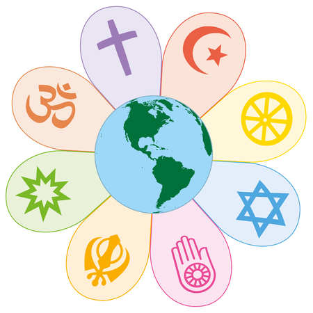 religion: World religions united on a colorful flower with planet earth in center. Isolated vector illustration on white background. Illustration