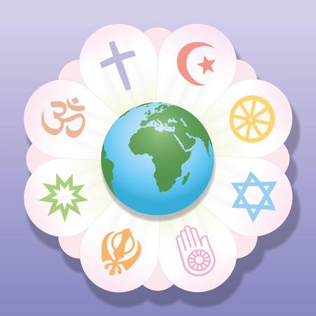 기독교, 이슬람교, 불교, 유대교, 자이나교, 시크교, 바하이, 힌두교 - 종교 연대와 간섭의 상징 - 세계 종교는 꽃의 꽃잎으로 연합. 벡터 일러스트 레이