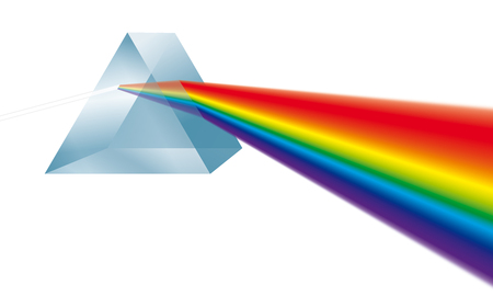 Triangular prism breaks white light ray into rainbow spectral colors. Illustration on white background.