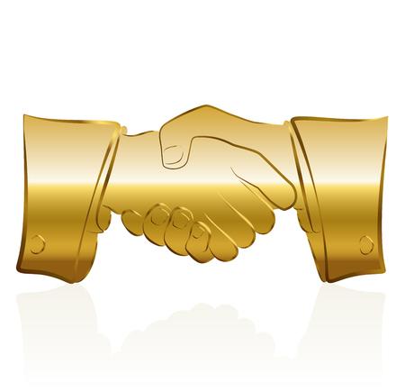 remuneraciones: S�mbolo de apret�n de manos de oro. Ilustraci�n vectorial aislado sobre fondo blanco.
